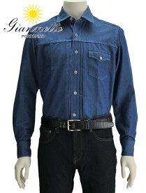 【今なら更にPoint2倍】ジャンネット  GIANNETTO メンズ 長袖カジュアルシャツ JIMMY-65 ブルー ウォッシングディヴィジョン 胸ポケット付き シャンブレーコットン イタリア製 国内正規品