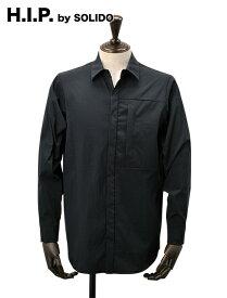 H.I.P. by SOLIDO  エイチアイピー ソリード メンズ ナイロンシャツジャケット 8024マルチファンクショナル マットブラック パッカブル ワッシャー加工 モード 国内正規品 でらでら 公式ブランド