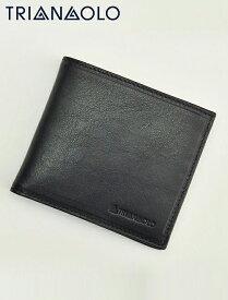 トリアンゴロ▲  TRIANGOLO ブラック 紙幣スペース2室ジャパンマネータイプ 二つ折り財布 イタリア製レザーウォレット 国内正規品 メンズ レディース でらでら 公式ブランド