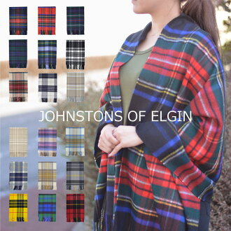 埃尔金 Johnstons 羊绒围巾大 Johnstons 检查围巾格子复选围巾