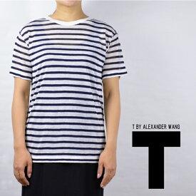 アレキサンダーワン tシャツ ボーダー T by Alexander Wang STRIPE RAYON LINEN SHORT SLEEVE TEE 【西日本】