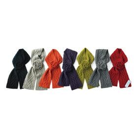 mud pie マッドパイ cable knit scarf ケーブル ニット スカーフmudpie ローズ モチーフのオシャレ マフラー です。 【西日本】