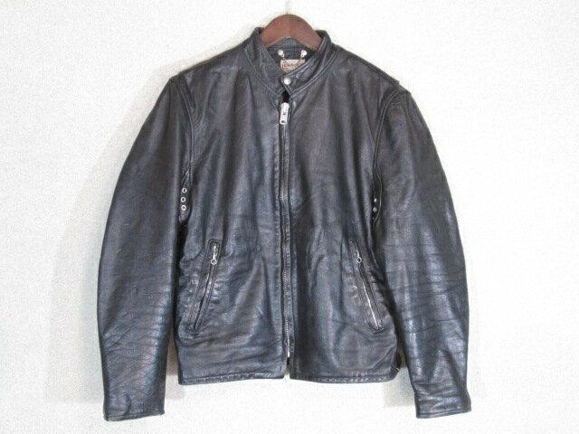 70年代製 ヴィンテージ シングル ライダースジャケット ブラック 40 古着【中古】【メンズ】【LARGE】