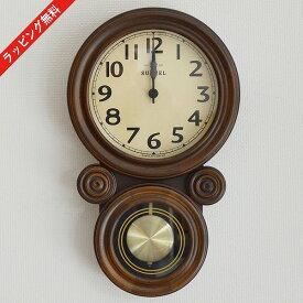 掛け時計 電波時計 電波振り子 時計 壁掛け クロック アナログ 柱時計 ナチュラル シンプル アンティーク レトロ 木製 国産 日本製 ミニだるま DQL676 【送料無料】