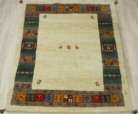 ペルシャ製ギャッベ 手織りラグマット ペルシャギャベ BB27112 (Y) 約166×241cm ベージュ系 ウールカーペット ウールラグ ウール100%