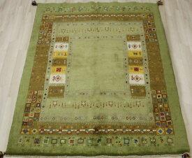 ペルシャ製ギャッベ 手織りラグマット ペルシャギャベ BB29066 (Y) 約149×194cm グリーン系 ウールカーペット ウールラグ ウール100%