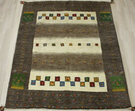 ペルシャ製ギャッベ 手織りラグマット ペルシャギャベ BT2037 (Y) 約155×196cm ブラウン系 ウールカーペット ウールラグ ウール100%
