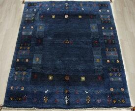 ペルシャ製ギャッベ 手織りラグマット ペルシャギャベ BT587 (Y) 約153×190cm ブルー ネイビー系 ウールカーペット ウールラグ ウール100%