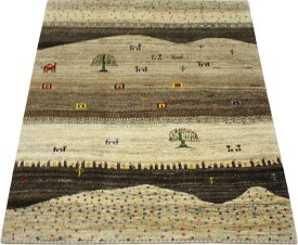 ウール100% ギャッベ絨毯 手織り PG10343 (Y) 約146×194cm ブラウン系 天然草木染め 高級ペルシャギャベ ラグ カーペット ファーハディアン FARHADIAN