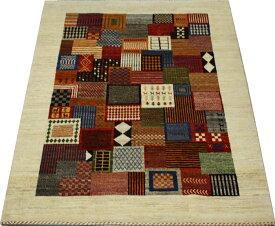 ウール100% ギャッベ絨毯 手織り PG2097 (Y) 約158×218cm マルチカラー 天然草木染め 高級ペルシャギャベ ラグ カーペット ファーハディアン FARHADIAN