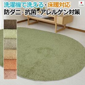 洗えるシャギーラグ カーペット 円形ラグ 約130×190cm楕円形 フロー (K) 引っ越し 新生活