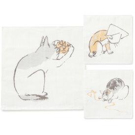 中川政七商店 かや織ふきん 猫 綿100% ねこ好きさんへのギフトにおすすめな布巾