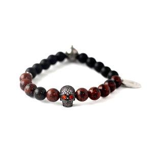 ブレスレット メンズ おしゃれ パワーストーン ジャスパー レッド スカル Gnome & Bow Helmskull Bracelet Jasper Red