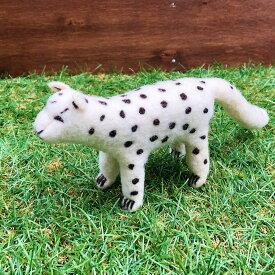 羊毛フェルトのぬいぐるみ かわいい動物 人形 キルギス ハンドメイド ユキヒョウ Snow Leopard DESIGNERS' FRIDGE デザフリ【天然ウール100%】