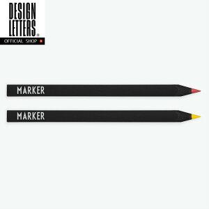 店内クーポン対象!MARKERS SET BY DESIGN LETTERS デザインレターズ 2色セット 蛍光色の色鉛筆 ブラック オフィス 勉強 デスク オシャレ文房具 【メール便可】