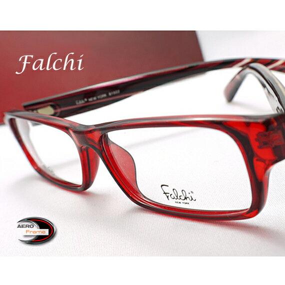 【送料無料】メガネ 度付き/度なし/伊達メガネ/pc用レンズ対応/【メガネ通販】Falchi NEW YORK セルフレーム RED 眼鏡一式《今だけ送料無料》【smtb-m】