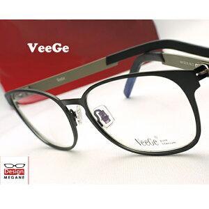 【送料無料】メガネ 度付き/度なし/伊達メガネ/pc用レンズ対応/【メガネ通販】VeeGe Eyewear 純チタン素材 Black×Gray 快適バネ内蔵 眼鏡一式 《送料無料》【smtb-m】