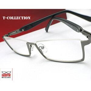 【送料無料】メガネ 度付き/度なし/伊達メガネ/pc用レンズ対応/【メガネ通販】T-Collection Eyewear Gray アンダーリム 快適バネ内蔵 眼鏡一式《送料無料》【smtb-m】