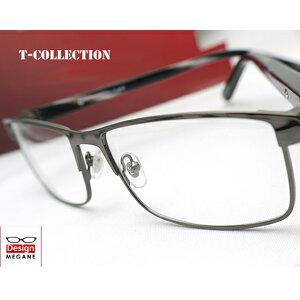 【送料無料】メガネ 度付き/度なし/伊達メガネ/pc用レンズ対応/【メガネ通販】T-collection Eyewear Gunmetalic フルリム 快適バネ内蔵 眼鏡一式 《送料無料》【smtb-m】