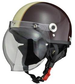 LEAD リード工業 CROSS CR-760 ハーフヘルメット ブラウン×アイボリー | バイク ハーフ ヘルメット ヘルメ バブルシールド シールド メンズ レディース 原付 かっこいい おしゃれ バイク用品 開閉 交換 リード ワンタッチ キャップ おすすめ UVカット ポイント消化