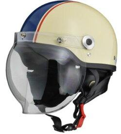 LEAD リード工業 CROSS CR-760 ハーフヘルメット アイボリー×ネイビー | バイク ハーフ ヘルメット ヘルメ バブルシールド シールド メンズ レディース 原付 かっこいい おしゃれ バイク用品 開閉 交換 リード ワンタッチ キャップ おすすめ UVカット ポイント消化