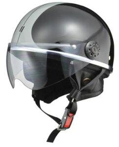 LEAD リード工業 O-ONE ハーフヘルメット BK/SV   バイク ハーフ ヘルメット ヘルメ レディース 原付 かっこいい かわいい おしゃれ ライト スモーク シールド インナー バイク用品 交換 リード あ