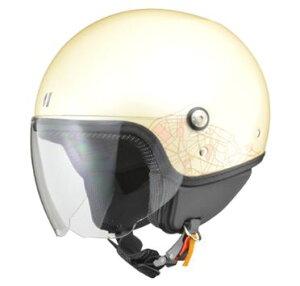 LEAD リード工業 PALIO ジェットヘルメット アイボリー   ジェット ヘルメット ヘルメ バイク 原付 レディース シールド かわいい インナー おしゃれ あごひも ワンタッチ 交換 替え 内装 バイク