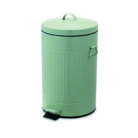 ペダルビン ラウンド L ライトグリーン ブリキ プラスチック W27.5 D31.5 H45cm   ごみ箱 ゴミ箱 ダストボックス ふた付き フタ付き スリム ペダル ペダル付き インテリア おしゃれ オシャレ キッチン リビング 資源ゴミ シンプル デザイン