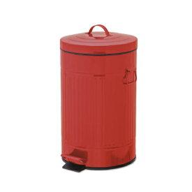 ペダルビン ラウンド L レッド ブリキ プラスチック W27.5 D31.5 H45cm   ごみ箱 ゴミ箱 ダストボックス ふた付き フタ付き スリム ペダル ペダル付き インテリア おしゃれ オシャレ キッチン リビング 資源ゴミ シンプル デザイン