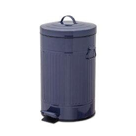 ペダルビン ラウンド L ネイビー ブリキ プラスチック W27.5 D31.5 H45cm   ごみ箱 ゴミ箱 ダストボックス ふた付き フタ付き スリム ペダル ペダル付き インテリア おしゃれ オシャレ キッチン リビング 資源ゴミ シンプル デザイン