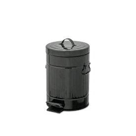 ペダルビン ラウンド S ブラック ブリキ プラスチック W22 D27 H33cm   ごみ箱 ゴミ箱 ダストボックス ふた付き フタ付き スリム ペダル ペダル付き インテリア おしゃれ オシャレ キッチン リビング 資源ゴミ シンプル デザイン