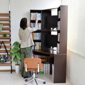 書斎机 スライド テーブル パソコンデスク 書棚付 ハイタイプ コーナーデスク 三角 ダークブラウン l字型 日本製 デスク リモートワーク テレワーク 在宅勤務 ホームオフィス JS115DBR