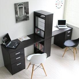 パソコンデスク ユニットデスク ツインデスク セット ハイタイプ 省スペース おしゃれ 収納 木製 本棚付き 3段チェスト リモートワーク テレワーク 在宅勤務 ホームオフィス CPB027A-SET2 送料無料