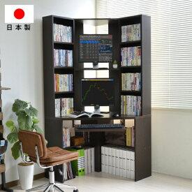書斎机 パソコンデスク コーナー 書棚付 スライド テーブル ハイタイプ デスク 三角 ダークブラウン l字型 日本製 デスク リモートワーク テレワーク 在宅勤務 ホームオフィス JS115DBR