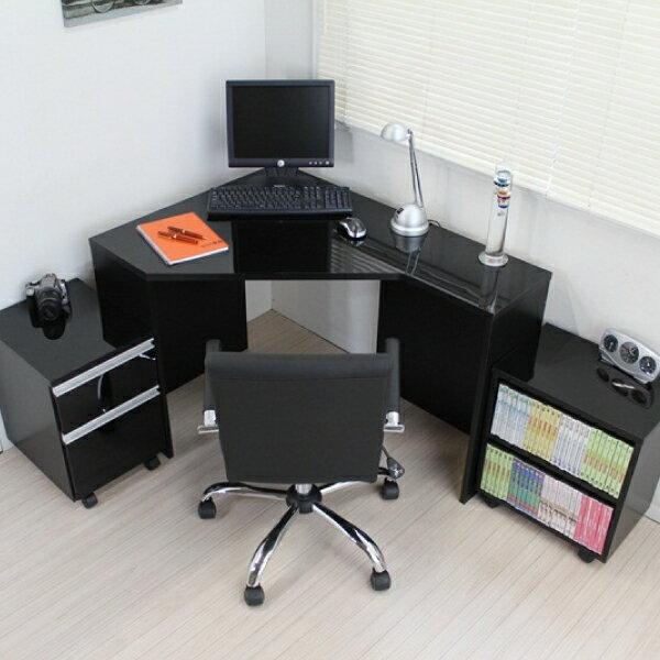 パソコンデスク デスク コーナーデスク L字型 高級ブラック鏡面 ハイタイプ パソコンデスク おしゃれ 北欧 J-Supply Ltd.(ジェイサプライ) JS144BK 送料無料