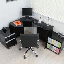 パソコンデスク デスク コーナーデスク L字型 三角 高級ブラック鏡面 ハイタイプ パソコンデスク 鏡面パソコンデスク3点セット デスク+ラック+チェスト l字型 パソコンデスク pcデスク 省スペース おしゃれ 北欧 リモートワーク テレワーク 在宅勤務 ホームオフィス JS144BK