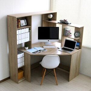 パソコンデスクL字型コーナー幅125cm幅100cmL字デスクブラウン机つくえワークデスクPCデスクオフィスデスクハイタイプ木製北欧お洒落PD001BRリニューアルサイズ