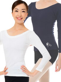 バレエ 大人 トップス Tシャツ プリマ刺繍8分袖ラウンドネックTシャツ クロワゼvol.69p16掲載商品
