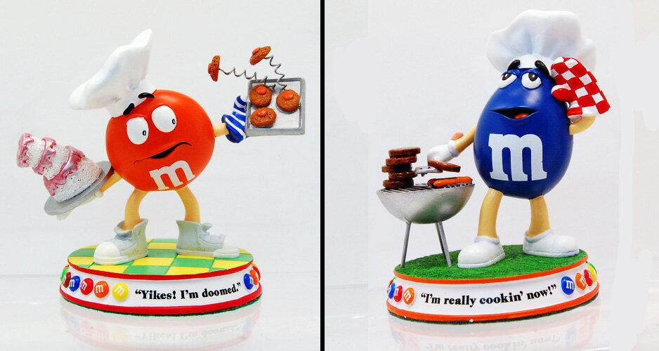 """M&M's ダンバリーミント社 """"SWEET TREATS"""" CHOCO TASTROPHE & REALLY COOKIN' (オレンジ&ブルー)レジン製 スタチュー"""