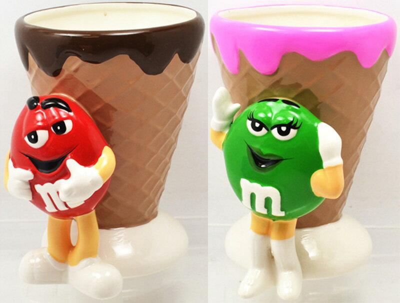 m&m's RED&GREEN アイスクリーム 陶器製コーン型小物入れ レッド&グリーンセット!