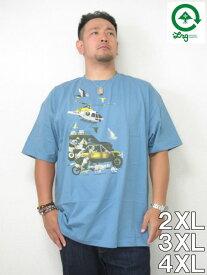 (10/31まで特別送料)大きいサイズ メンズ LRG(エルアールジー)「HEAVY PURSUIT」TEE<VENICE BLUE>2XL 3XL USA アメリカ ストリート系 ブランド 半袖 Tシャツ