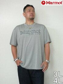 (10/31まで特別送料)大きいサイズ メンズ MARMOT(マーモット)「HEATHER MARMOT LOGO」TEE<グレイストーム>3L 4L 半袖 Tシャツ