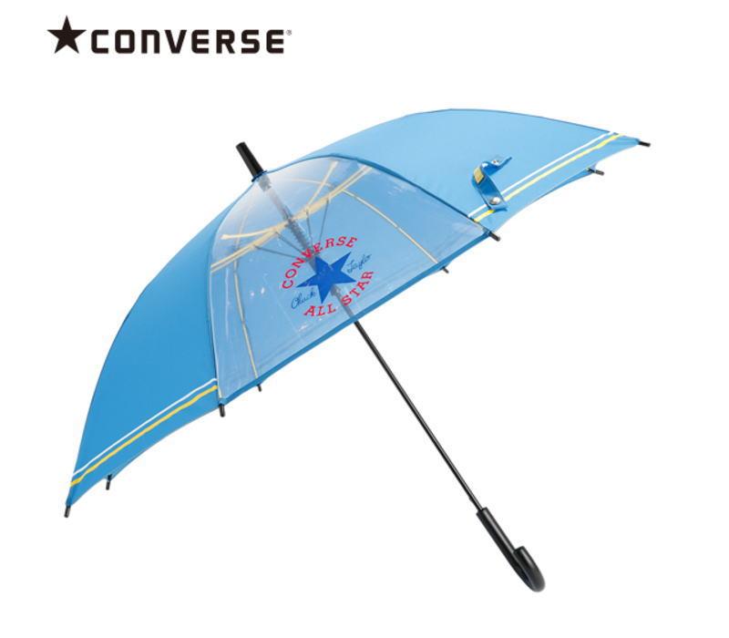 【メール便不可】CONVERSE(コンバース) 1コマ透明 キッズアンブレラ/ブルー 55cm ジャンプ傘 こども用 かさ カサ 雨傘 置き傘 入園 通園 ギフト プレゼント(20081 og200083)