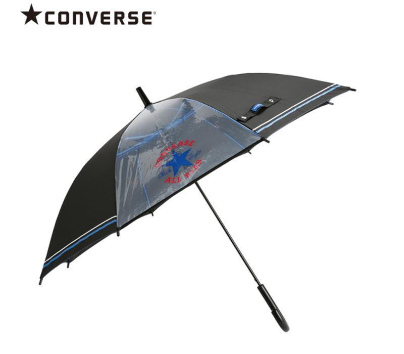 【メール便不可】CONVERSE(コンバース) 1コマ透明 キッズアンブレラ/ブラック 55cm ジャンプ傘 こども用 かさ カサ 雨傘 置き傘 入園 通園 ギフト プレゼント(20082 og200083)