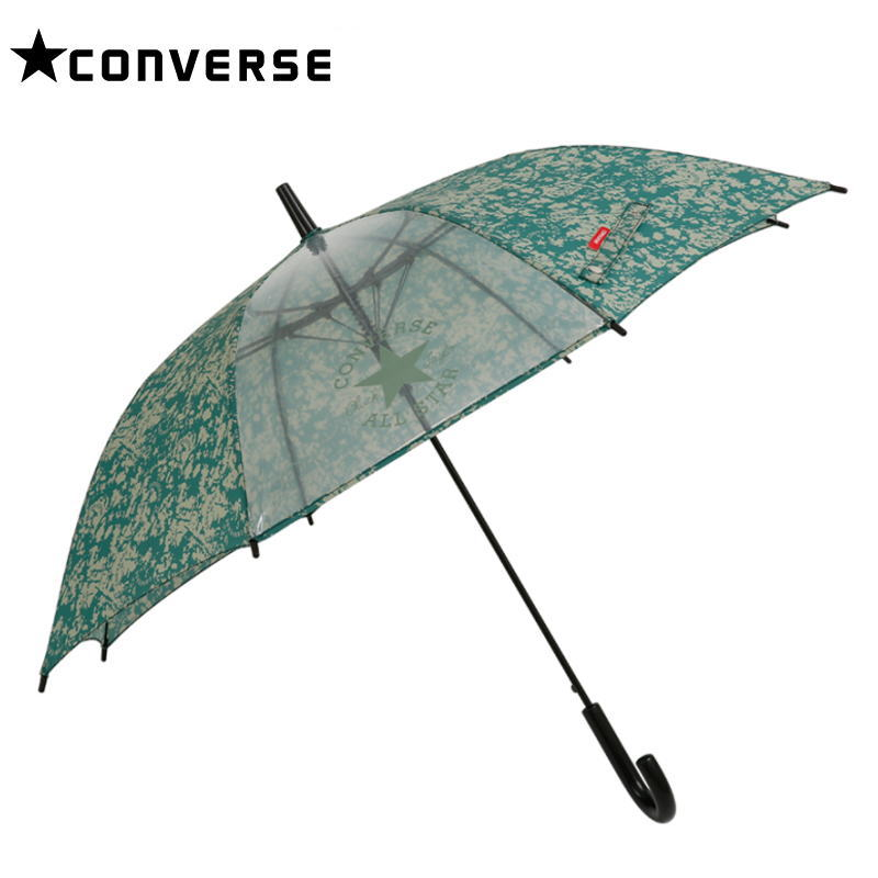 【メール便不可】CONVERSE(コンバース) 1コマ透明 キッズアンブレラ/グリーン 55cm ジャンプ傘 こども用 かさ カサ 雨傘 置き傘 入園 通園 ギフト プレゼント(78837 og200083)