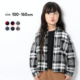 [devirock ビッグシルエットチェックシャツ 男の子 女の子 トップス 長袖 長そで ブラウス 全6柄 100-160] 子供服 韓国子供服 キッズ ジュニア 子供 こども 子ども ダンス M0-0