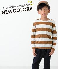 devirockボーダー長袖Tシャツ男の子女の子トップスロンT長袖長そで