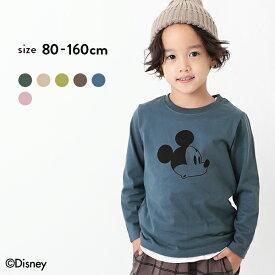 Disney ディズニー ミッキー柄長袖Tシャツ 男の子 女の子 トップス ロンT 長袖 長そで ベビー 子供服 キッズ ジュニア 子供 こども 子ども
