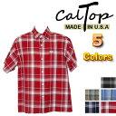 CalTop チェック柄 S/Sシャツ[カルトップ] 【全5色】メンズボタンシャツ 大きいメンズシャツ 大きいサイズシャツ【M〜2XL】3XL〜5XLもございます! LL 2L 3L 4L 5L