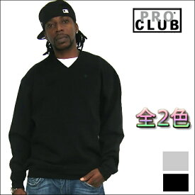【146】PRO CLUB (プロクラブ) 13 OZ ヘビーウェイト無地Vネックトレーナー(全2色)[あす楽](スウェット)ブラック・グレースウェット パーカー メンズ 大きいサイズ パーカ LL 2L 3L 4L 5L 7L